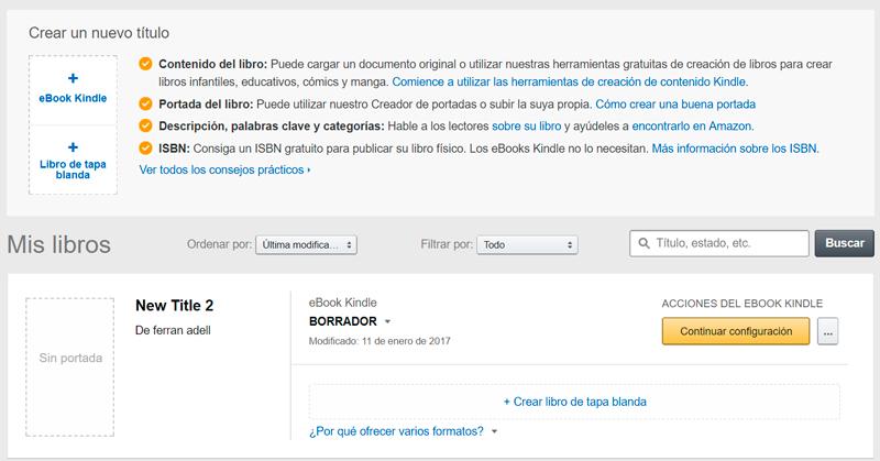 Captura de la secció per a la gestió de publicacions i creació de nous llibres