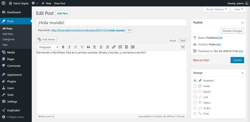 Creació de contingut per a un article amb WordPress