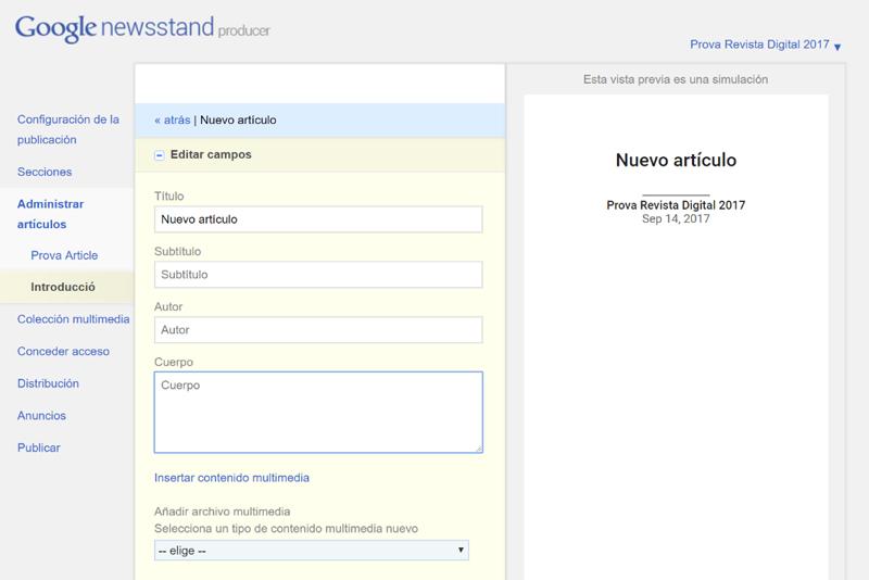 Creació d'un article de revista per a Google Quiosc (Google Producer)