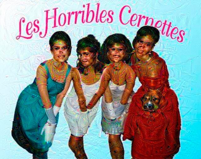 Les Horribles Cernettes després d'haver estat somiades per l'aplicació Deep Dreamer
