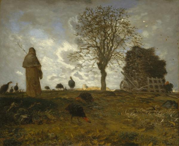 Paisatge de tardor amb un grup de galls dindis, Jean-François Millet, 1917, Open Access for Scholarly Content (OASC) via Met website, domini públic.