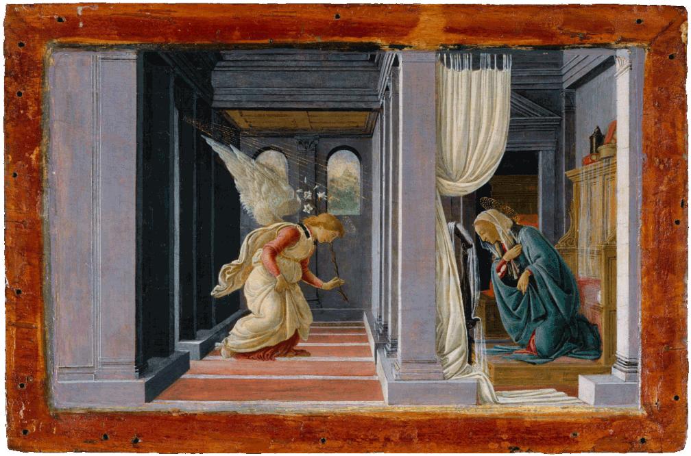 L'anunciació, Botticelli, 1485, Open Access for Scholarly Content (OASC) via Met website.
