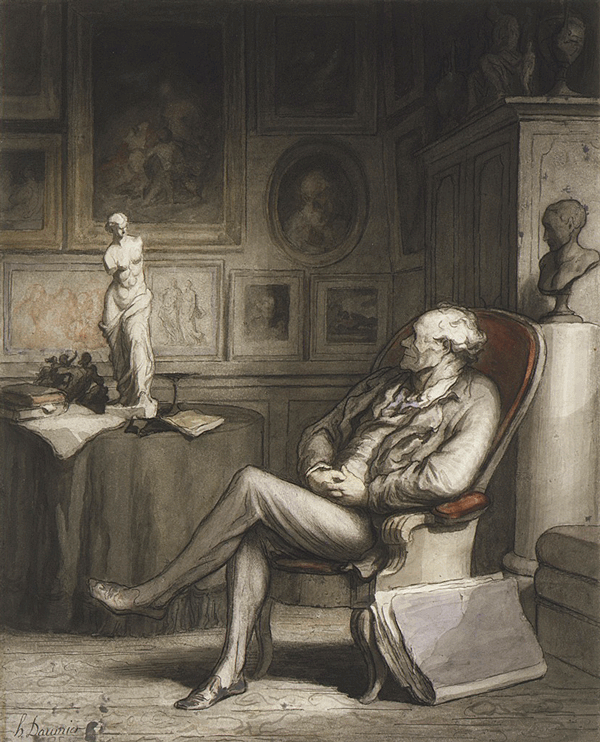 The Connoisseur, Honoré Daumier, ca. 1860-65, Open Access for Scholarly Content (OASC) via Met website.
