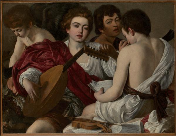 Els músics, Caravaggio, 1595, Open Access for Scholarly Content (OASC) via Met website.
