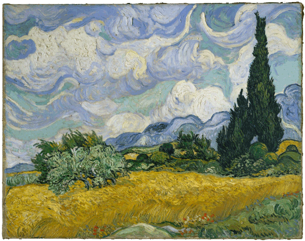 Wheat Field with Cypresses, V. van Gogh, 1889, Open Access for Scholarly Content (OASC) via Met website.