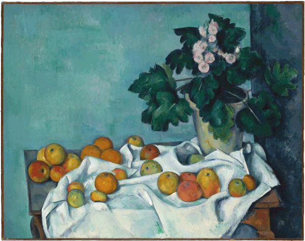 Still Life with Apples and a Pot of Primroses, Paul Cézanne, 1890, Open Access for Scholarly Content (OASC) via Met website.