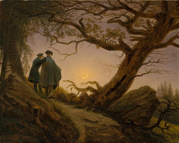 Dos homes contemplant la lluna, Caspar David Friedrich, 1825-1830, Open Access for Scholarly Content (OASC) via Met website.