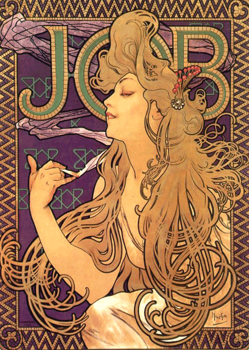 Anunci de cigarros Job, Alphonse Mucha, http://masterpieceart.net/alphonse-mucha/, domini públic.