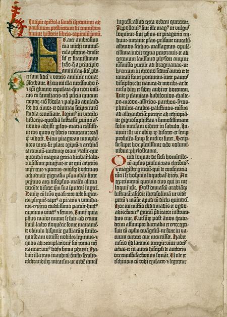 Figura 10. Primera pàgina del primer volum de la Bíblia de Gutenberg: epístola de Sant Jeroni