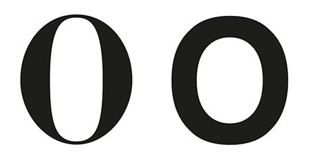 Figura 18. Comparació de contrast entre Bodoni (esquerra) i Helvetica (dreta)