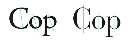 Figura 19. Comparació de modulacions entre Jenson (esquerra) i Bodoni (dreta)
