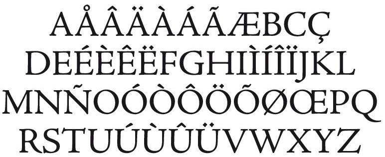 Figura 21. La caixa alta o majúscula inclou vocals, consonants, vocals accentuades, la ce trencada (Ç), la n amb titlla (Ñ) i les lligadures entre les vocals A/I i O/I.