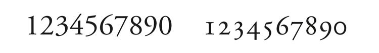 Figura 26. Comparació entre nombres capitals (esquerra) i old style (dreta) en Adobe Garamond Pro