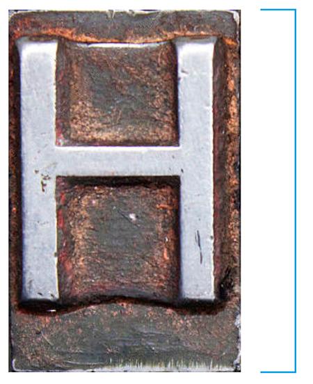 Figura 42. L'alçària de la cara del tipus on figura la lletra s'anomena cos