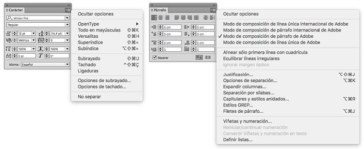 Figura 79. Panells de caràcter i paràgraf d'InDesign (Adobe)