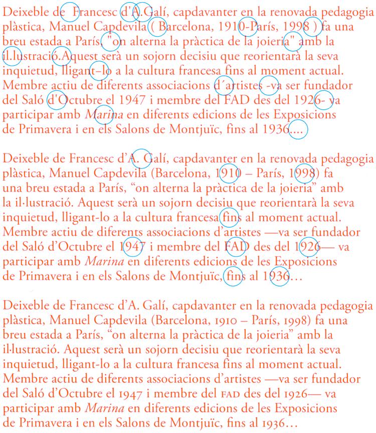 Figura 96. El primer paràgraf conté alguns dels errors més comuns en ortotipografia, el segon és la versió corregida i el tercer incorpora algunes millores