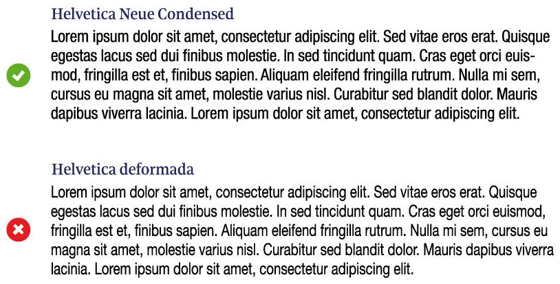 Figura 70. Deformar la tipografia provoca inconsistències en la textura, o gris general del text, i dificulta la llegibilitat.